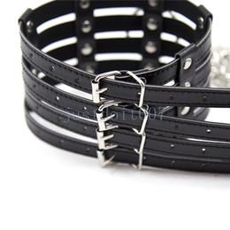 Metal bondage neck online shopping - Pu Leather Neck Collar Metal Chain Leash Slave Neck Restraints Harness Toys R56