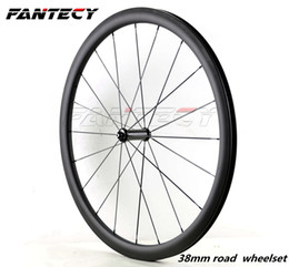 carbon wheels powerway Canada - Free shipping 700C 38mm depth road bike Full carbon wheels 23mm width Clincher Tubular with UD weave carbon wheelset with Powerway R36 hub