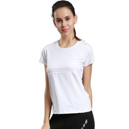 Camiseta deportiva Ropa de fitness Ropa de yoga Ejecución de cuello redondo Manga corta de secado rápido Color sólido transpirable
