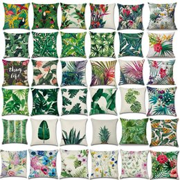 Wholesale 36 design X45CM Pillow Case Green Tropical Plant Tree Leaves Pillow Cover Fresh Throw Pillow Case Home Hotel Usage Cushion cover case