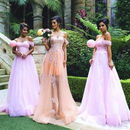 3fe8431dfe48e Blush Lace Event Dress Off-the-shoulder Gorgeous Appliques Tulle Applique A-line  Bridesmaid Dress vestido de festa longo para casamento