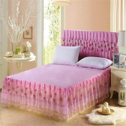 Discount pink ruffle bedspread - polyester 1pc pink bed skirt lace princess bedding bedspreads skirt lace ruffles bed skirts twin full queen size princes