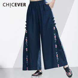 Embroidery Clothing For Women Canada - CHICEVER Embroidery Wide Leg Pants Female High Elastic Waist Loose Big Size Vintage Trousers For Women Floral Casual Clothes New