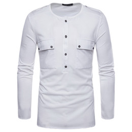 quick dry shirts for men UK - Hot Shirts Long Sleeve T Shirts for Men New Tee Shirt Personality Button Fashion Shirts Mans Wide-waisted T-Shirt Cotton Split Tops Shirt