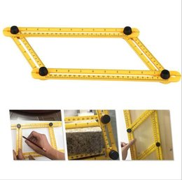Опт Многофункциональный угол Изер шаблон инструмент пластиковые измерения четырех сторонняя линейка точный инструмент измерения для Handmen c244