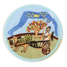 StereoScopic bag online shopping - 9CM Embroidery Patch Sew Iron On Handmade Bead Apple Carriage Patches Stereoscopic Badges For Bag Jeans Hat T Shirt DIY Appliques Decoration