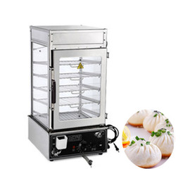 Chinese  Qihang_top stainless steel commercial 5 layers electric frozen steamed bun steamer glass food warmer display showcase manufacturers