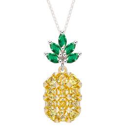 Women Lovely Pineapple Pendant Necklace Rhinestone Yellow Purple Fruit Necklace  Girls Fashion Jewelry 557327666a14
