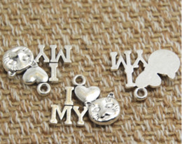 TibeTan silver caT pendanT online shopping - 30pcs I Love cat Charms Antique Tibetan silver Tone I heart cat charm pendants Jewelry Making X13mm