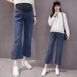 d9b057056c688 Pregnant Jeans Maternity Wide Leg Split Trousers For Pregnant Women Belly  Pants Loose Overalls Pregnancy Clothing Straight Pants