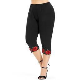 $enCountryForm.capitalKeyWord NZ - Wipalo Plus Size 5XL High Waist Cropped Leggings Women Pants Capri Causal Flower Appliques Pencil Pants 2018 Women'S Trousers