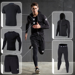 Gym Jogging Suit Men Canada - 2018 sports running suit compression 5pcs men fitness clothing sets quick dry hood basketball soccer gym training jogging suits