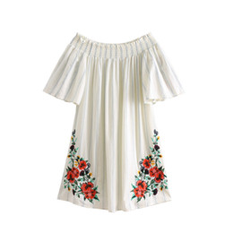 EmbroidErEd drEss matErial online shopping - Bohemian Retro Vintage Embroidered Printed Dress Sexy Neck Collar Cotton Material Casual Summer Women s XL Beach Harajuku Dress