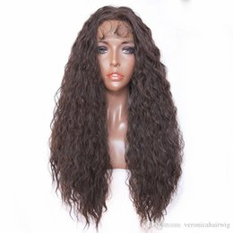 $enCountryForm.capitalKeyWord Australia - Hot Selling New Style Brown Hair Kinky Curly Heat Resistant Synthetic Lace Front Wig Long Curly #4 Color Lace Wigs for Black Women