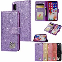 $enCountryForm.capitalKeyWord NZ - For Iphone XR XS MAX X 10 8 Plus 6 6S SE 5 Galaxy Note 9 Bling Diamond Swan Glitter Wallet Leather Cases Sparkly Sparkle Flip Cover Luxury