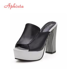 Clogs Platforms Canada - Aphixta Sexy Lady Open Toe Lady Platform High Heel Slippers Fashion Woman Clogs Lady Casual Slides White Black Size 35-40 12cm