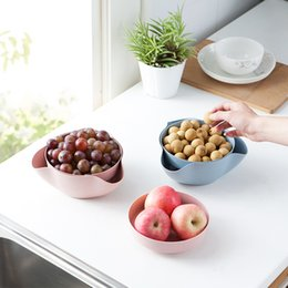 Wholesale Hourong set Detachable Wheat Straw Fruit Plate Storage Tool Disc Dry Fruit Snacks Candy Dish Fruit Bowl Home Kitchen Gadgets
