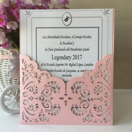 $enCountryForm.capitalKeyWord Canada - 20pcs New Laser Cut Pearl Paper Lace Design bar mitzvah Christening Greeting Blessing card wedding Invitation Postcard Gift Card