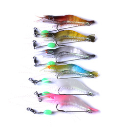 lure leader trace NZ - Predator Plastic octopus Cuttlefish Fishing Lure Prawn Squid bait 8cm 5.3g 3D Artificial Soft Shrimp Lure Hook with Leader Cord Trace