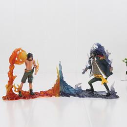 Batman Figure Wholesale NZ - 2pcs set One Piece DXF The Rival Portgas D Ace VS Marshall D Teach Action Figure Collectible Model Toys