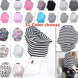 Scarf Shopping NZ - New Baby Nursing Cover Privacy Wrap Cotton Scarf Blanket Stripe Baby Car Seat Shopping Cart Chair Cover Multi-Use Cover 31 Styles HH7-977