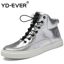 Lace yds online shopping - YD EVER Flat With Men boots Athletic Walking Skate Sport Shoes Man Brand Spring Autumn Silver Sneakers casual shoes