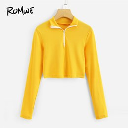 Cropped Tees Australia - ROMWE Zip Up Front Crop Tee Summer Women Yellow Tops 2018 Fashion Casual Long Sleeve Zipper Crop Tee Shirt