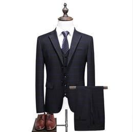 Mens skinny black dress pants online shopping - Jacket Vest Pants suits men Mens fashion wedding Suits Slim Fit Coat Stripe Tuxedo Prom Suits Classic Full dress size S XL terno