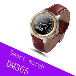 Dial Box NZ - Gift Smart Watch with Luxury Retail Box DM365 Waterproof IP67 Bluetooth Smartwatch Round Dial Leather Band Wristwatch Snyc for iPhone Huawei