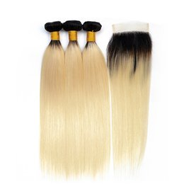 length 28 inch brazilian hair UK - 1b 613 Blonde Bundles With Closure Human Hair Brazilian Straight Hair 3 Bundles With Lace Closure Non-Remy