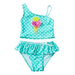 ed6a70e28c UPF 50+ Toddler Swimsuit Dot 3D Rose Ice Cream Applique Sequins Slanted  Shoulder Sling Ruffle Lace Costumi da bagno Ensembles 2 pièces Girls