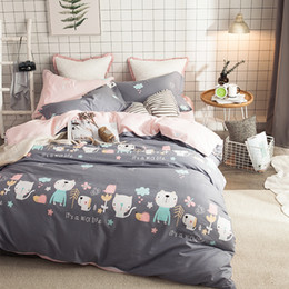 cute soft cat cases 2019 - Cute Grey Cartoon Cats Printed Duvet Cover Set 100% Coon Bedding Set Queen Size Soft Bed Sheet Pillow Case Beautiful Bed