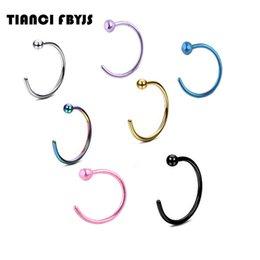 gold nose rings hoops Australia - TianciFBYJS Nose ring Piercing nose hoop body jewelry 20G 0.8*8*2.5mm gold silver nariz piercing plated Titanium Tragus ear