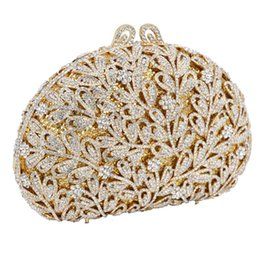 $enCountryForm.capitalKeyWord UK - Newest Flower Evening Crystal Bag Golden Stones Rhinestone Clutch Evening Bag Female Party Purse Wedding Clutch Bag SC532 High Quality