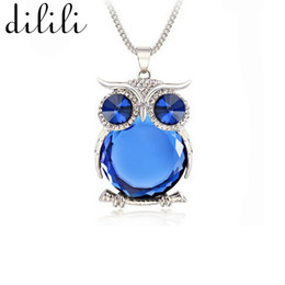 $enCountryForm.capitalKeyWord UK - DILILI 2017 fashion plated metal long chain Necklace women vintage blue gem stone owl pendant necklaces & pendants xsn755