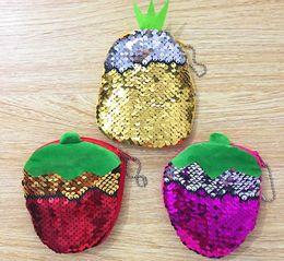 Bags Fish Scale Australia - Pineapple strawberry shape magic sequins lady purse fish scale sequins plush coin bag zipper female earphone bag