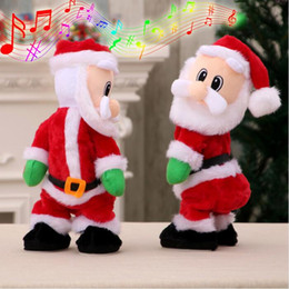 Discount dancing musical toys - Electric Twerk Santa Claus Toy Xmas Music Singing Dancing Twisted Wiggle Hip Doll Christmas Home Decoration Kids Gifts