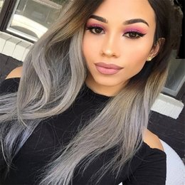 Discount ombre gray hair - Straight Ombre Color Wig 1B Grey Full Lace Human Hair Wig 130% Density with Dark Black Roots 100% Brazilian Virgin Human