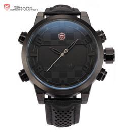 1eda0c8ad14c 2016 Shark Sport Watch LED Digital de doble tiempo de acero inoxidable  automática fecha alarma banda de cuero negro reloj masculino hombres Relojes    SH206
