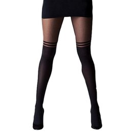2c0c19bde84cc Spring Fashion Women Tights Knee Double Stripe Sheer Tights Black Sexy Women  Temptation Ladies Suspender LM58
