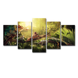 China Canvas Wall Art Home Decor Prints Poster 5 Pieces Iguana Snail Gecko Reptiles Snake Painting Peaceful Forest Life Pictures suppliers