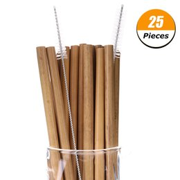 Wholesale 25 Bamboo Straw Reusable Straw cm Organic Bamboo Drinking Straws Natural Wood Straws For Party Birthday Wedding Bar Tool