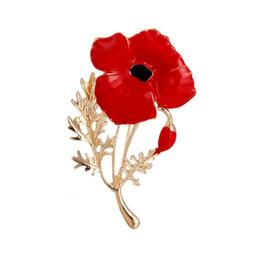 $enCountryForm.capitalKeyWord UK - Elegant Fashion Women Brooch Poppy Flower Shape Alloy Breastpin As Wedding Mother's Day Jewelry Gift Accessories