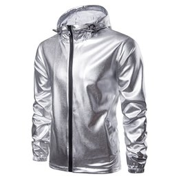 metallic gold spandex UK - Shiny Gold Jacket Men 2018 Fashion Hooded Zipper Jacket Nightclub Metallic Gold Shiny Jackets Men Veste Homme Slim Fit Varsity Bomber Jacket