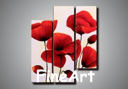Cheap Decorative Canvas UK - 100% hand painted 3 panel canvas wall art abstract red flower oil painting cheap modern canvas art decorative painting