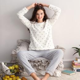 Women Velvet Clothes Australia - QWEEK Winter Women Sleepwear Flannel Female Pajama Long Sleeve Warm Pajamas for Women Velvet Pyjama Femme Soft Women Clothing S1024