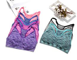 strength vest 2019 - Wholesale Pad Athletic V-Neck Lady Fitness Bra Shockproof Yoga Bra High Strength Running Bra Women Workout Stretch Tank