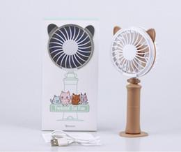 Colorful Cooling Fans NZ - 4colors USB Handheld Twist Cat Fan Electric Power Desktop Colorful Night Light Fan Mini Air Cooler with retail box 2018