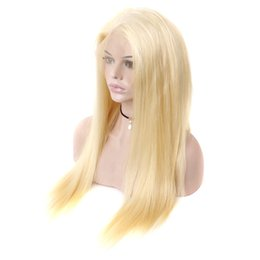 Discount black blonde human hair - Blonde Lace Frontal Virgin Human Hair Wigs Brazilian Virgin Straight Hair 150% Density Transparent Lace Front Wigs For B