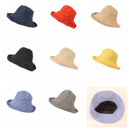 Sun hatS big brimS online shopping - 8colors solid girls Outdoors sunshade hat sunscreen beach cap Women fabric fashion Big fisherman hats GGA727
